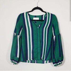 JOA Striped button down vneck blouse
